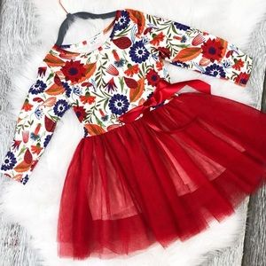 Other - KIDS red floral tulle dress